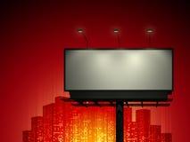 Aanplakbord met stedelijke horizon stock illustratie