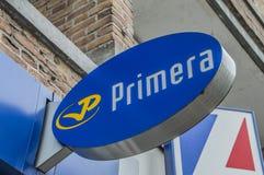 Aanplakbord van de Primera-Winkel bij het Nederland 2018 van Amsterdam stock foto's