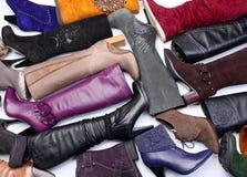 Aantal gekleurde vrouwelijke laarzen Stock Afbeelding