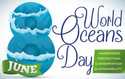 Aantal in Golven, Lint en Voorschriften voor Oceanendag wordt behandeld, Vectorillustratie die vector illustratie