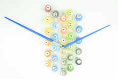 Aantal het schilderen kleuren met borstels worden geplaatst die Stock Afbeelding