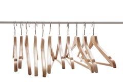 Aantal lege hangers na belangrijke sell-off in de opslag Stock Foto's