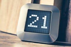 Aantal 21 op een Digitale Kalender, een Thermostaat of een Tijdopnemer Stock Foto