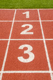 1 2 3 aantal op rasspoor in voetbalstadion Royalty-vrije Stock Foto