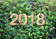 aantal van de het jaar houten textuur van 2018 het nieuwe op Groene bladerenmuur backgroun Stock Foto
