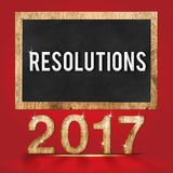 aantal van de 2017 resoluties het houten textuur met Doelstellingen woord op bord Royalty-vrije Stock Afbeeldingen