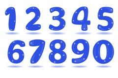 Aantal van 0 tot 9 op witte achtergrond wordt geïsoleerd die Royalty-vrije Stock Afbeeldingen
