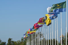 Aantal verschillende vlaggen met wapenschilden en banners Stock Afbeeldingen