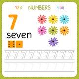 Aantallen die aantekenvel voor kleuterschool en kleuterschool vinden Het schrijven nummer Zeven Oefeningen voor jonge geitjes Wis vector illustratie