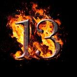 Aantallen en symbolen op brand - 13 stock illustratie