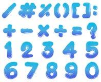 Aantallen en tekens in blauwe kleur Stock Foto's