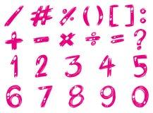 Aantallen en tekens in roze kleur Stock Afbeeldingen