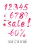 Aantallen en verkoopreeks Hand getrokken brieven Stock Foto