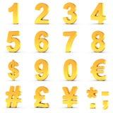 Aantallen in Goud met het knippen van weg voor elk voorwerp worden geplaatst dat Royalty-vrije Stock Foto