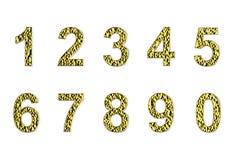 Aantallen in gouden deklaag die op een witte achtergrond wordt geïsoleerd stock illustratie