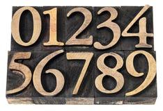 Aantallen in letterzetsel houten type Stock Afbeelding