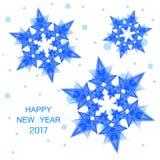 2017 aantallen nieuw jaar en blauwe sneeuwvlokken Stock Foto's