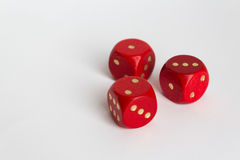 1.2.3 aantallen op rood drie dobbelt op wit Stock Afbeeldingen