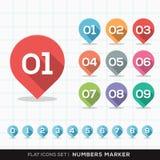 Aantallen Pin Marker Flat Icons met lange schaduwreeks Royalty-vrije Stock Afbeelding