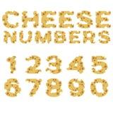 Aantallen van kaas in vlak ontwerp worden gemaakt dat stock illustratie