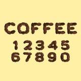 Aantallen van koffie in vlak ontwerp worden gemaakt dat royalty-vrije illustratie