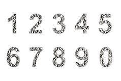 Aantallen in Zilveren die deklaag op een witte achtergrond wordt geïsoleerd vector illustratie