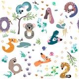 Aantallen zoals Australisch dierlijk naadloos patroon Stock Foto's