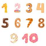 Aantallen zoals snoepjes en broodjes Stock Afbeeldingen