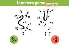 Aantallenspel (Cijfers): drie, vier royalty-vrije illustratie
