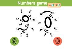 Aantallenspel (Cijfers): negen, nul vector illustratie