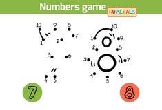 Aantallenspel (Cijfers): zeven, acht royalty-vrije illustratie