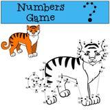 Aantallenspel met contour Weinig leuke tijgerglimlachen Stock Foto's