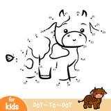 Aantallenspel, onderwijsspel voor kinderen, Stier vector illustratie