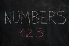 Aantallenwoord en 123 op zwart bord Stock Foto