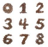Aantalreeks van koffiebonen die wordt gemaakt Royalty-vrije Stock Afbeelding
