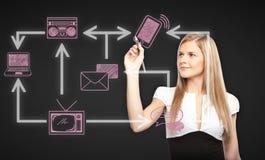 Aantrekkelijk de technologienetwerk van de vrouwentekening Stock Fotografie