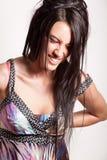 Aantrekkelijk emotioneel donkerbruin meisje Royalty-vrije Stock Foto