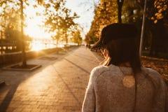 Aantrekkelijk, jong brunette met lang haar het lopen de herfstpark stock afbeelding