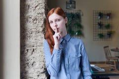 Aantrekkelijk jong Kaukasisch vrouwenmeisje met lange rode haar en blu royalty-vrije stock afbeeldingen