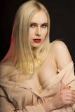 Aantrekkelijk jong model met lang blondehaar en gouden folie  Royalty-vrije Stock Afbeeldingen