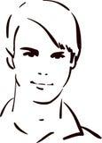 Aantrekkelijk jonge mensengezicht royalty-vrije illustratie