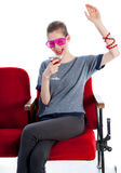 Aantrekkelijk Kaukasisch meisje in haar die 30 in studio wordt geschoten Royalty-vrije Stock Foto's