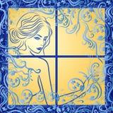 Aantrekkelijk meisje in berijpt venster stock illustratie