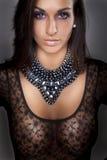 Aantrekkelijk meisje in de lingerie van het transparetkant Royalty-vrije Stock Foto's