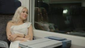 Aantrekkelijk meisje die door trein reizen stock video
