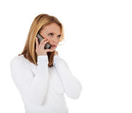 Aantrekkelijk meisje die telefoongesprek maken Royalty-vrije Stock Foto's