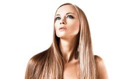 Aantrekkelijk meisje met recht blond haar Royalty-vrije Stock Foto