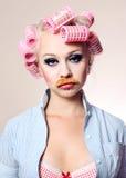 Aantrekkelijk meisje met snor Stock Foto
