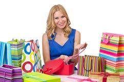 Aantrekkelijk meisje met zakken Stock Foto