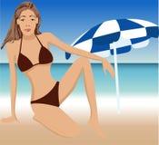Aantrekkelijk meisje op strand stock illustratie